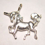 Sterling Silver diamond cut prancing unicorn pendant