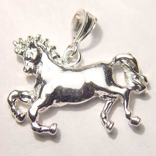 Sterling Silver galloping horse pendant