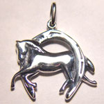 Sterling Silver 3 D galloping horse inside horseshoe charm/pendant