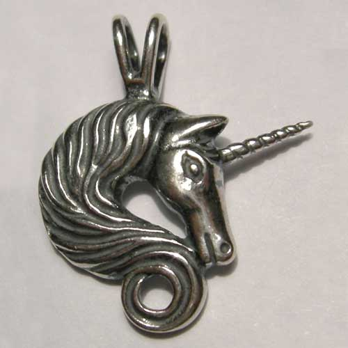 Sterling Silver unicorn with curly flowing mane pendant