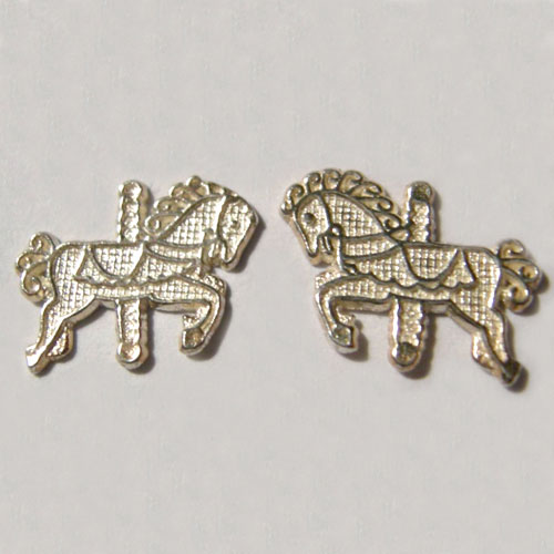 Sterling Silver small carousel horse post earrings