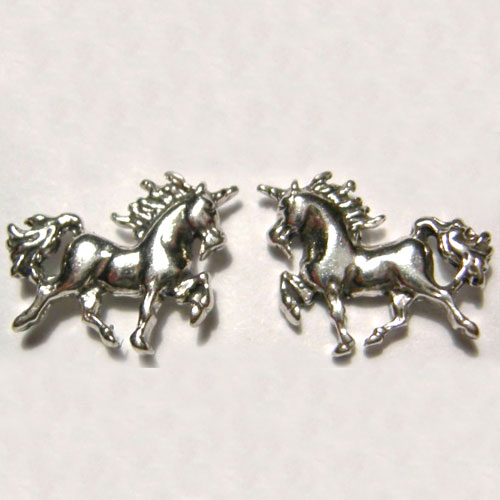 Sterling Silver small prancing unicorn post earrings