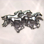 Sterling Silver galloping horse herd brooch