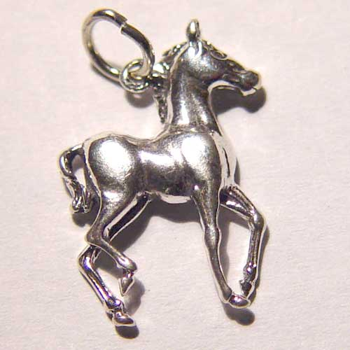 Sterling Silver small trotting colt charm/pendant