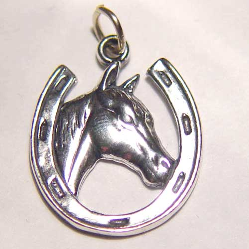 Sterling Silver horse head in horseshoe charm/pendant