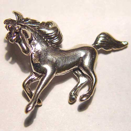 Sterling Silver 3D galloping horse pendant