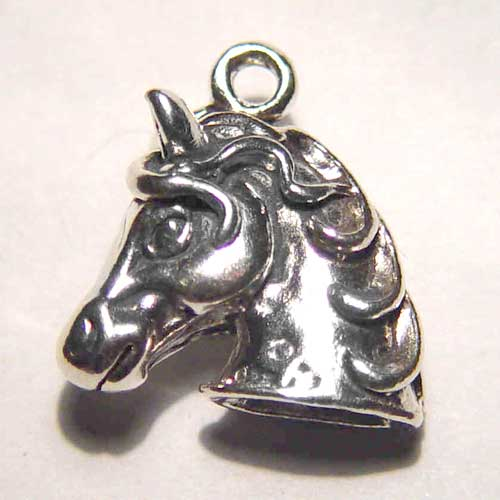 Sterling Silver 3D horse head charm/pendant