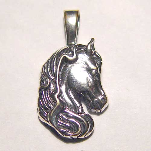 Sterling Silver Arabian horse head with flowing mane charm/pendant