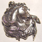 Sterling Silver rearing Stallion head pendant