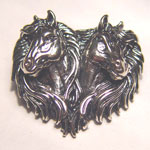 Sterling SIlver double horse head brooch