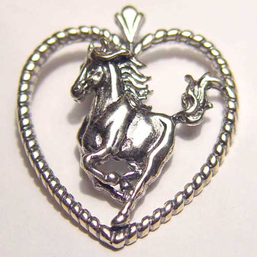 Sterling Silver galloping horse inside rope heart pendant
