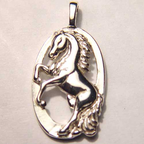 Sterling Silver rearing horse inside oval charm/pendant