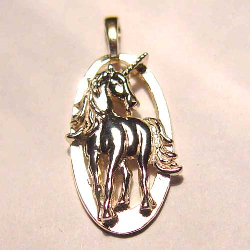 Sterling Silver unicorn in oval charm/pendant
