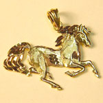 gold diamond cut galloping horse pendant