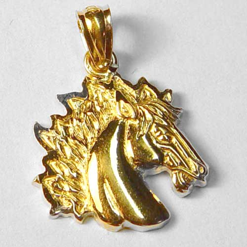 gold horse head charm/pendant with flowing mane