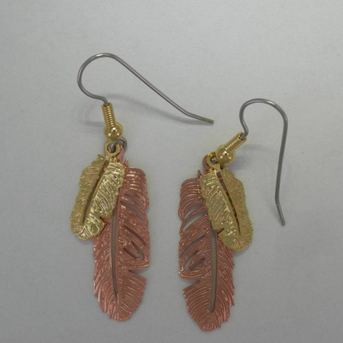 Copper double feather dangle earrings