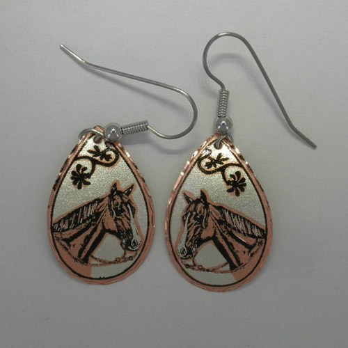 Copper horse head in bridle with diamond cut edging earrings
