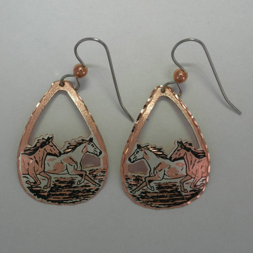 Copper two galloping horses dangle earrings