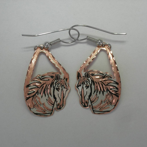 Copper big horse head dangle earrings