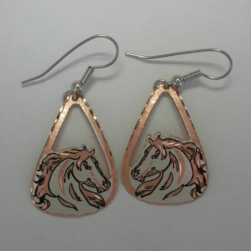 Copper horse head open dangle earrings