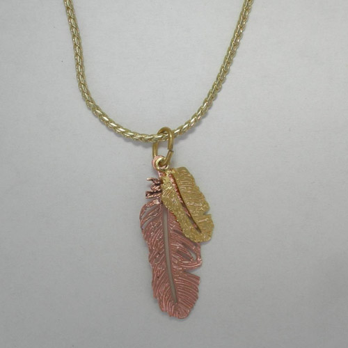 Copper double feather necklace
