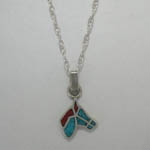 Sterling Silver Turquoise and Coral Horse Head necklace