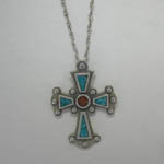 Sterling Silver Turquoise and Coral cross necklace