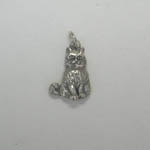 Sterling Silver 3-D seated cat pendant