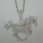 Landstroms Black Hills Gold Sterling Silver filigree horse necklace
