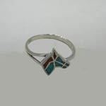Side view of Turquoise and Coral horse head ring