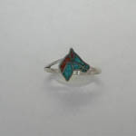 Sterling Silver Turquoise and Coral Horse Head ring