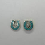 Sterling Silver Turquoise horseshoe post earrings