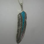 Sterling Silver Turquoise feather necklace