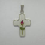 Sterling Silver white cross with rose flower pendant