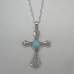 Sterling Silver Turquoise cross necklace
