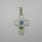 Sterling SIlver white cross with Blue Bonnet flower pendant