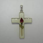 Sterling Silver large white cross with rose pendant