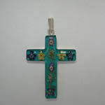 Sterling Silver large teal cross with wildflowers pendant