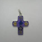 Sterling Silver medium small purple cross with wildflowers pendant