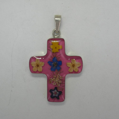 Sterling Silver medium pink cross with wildflowers pendant