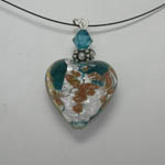 Venetian Glass Aqua Luna Heart Necklace