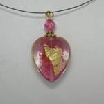 back silde of Pink Rubino heart on nylon chain necklace