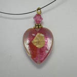 Venetian Glass Pink Rubino heart on nylon chain necklace