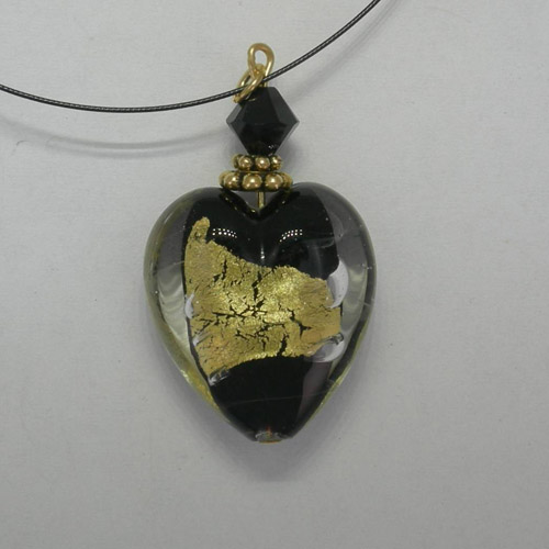 Venetian Glass Black and Gold heart on nylon cord necklace