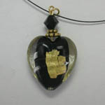 back side of Venetian Glass black and gold heart on nylon cord necklace