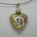 Venetian Glass Clear Luna heart on nylon cord necklace