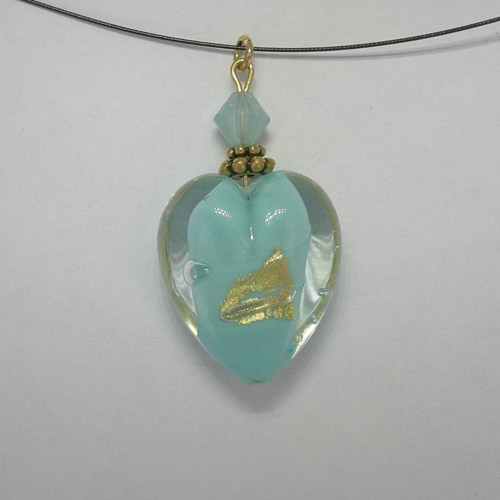 Venetian Glass Clear and Blue Pacific Opal heart on nylon cord necklace