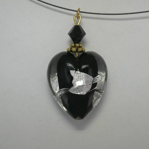 Venetian Glass Clear and Black and SIlver heart on nylon cord necklace