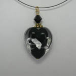 Venetian Glass back side of clear and black and silver heart on nylon cord