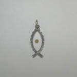 Sterling Silver Ichthus with Mustard Seed pendant
